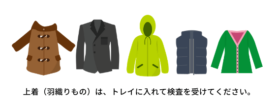 上着(羽織りもの)は。トレイに入れて検査を受けてください。